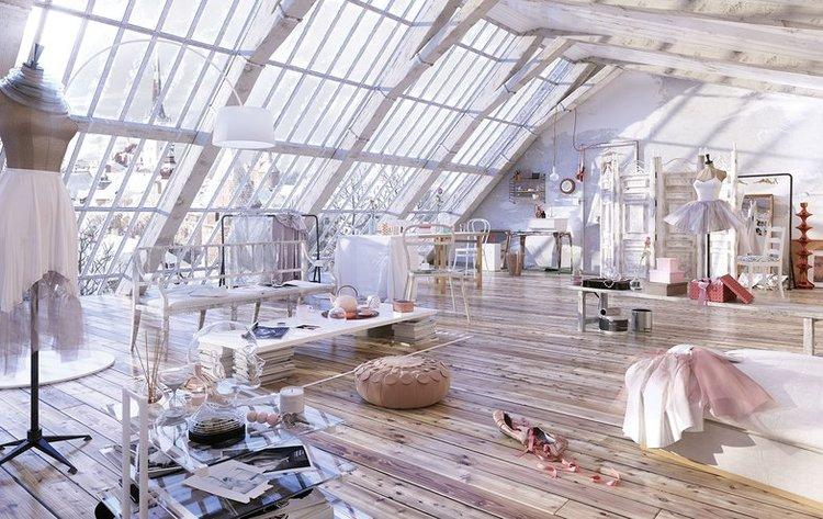 使用3ds Max创建芭蕾舞女演员的阁楼内部